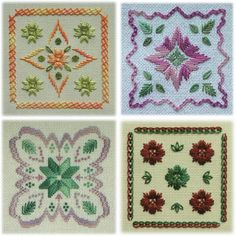 Happy Hour - They make take a little more than an hour, but the variety of hand-dyed threads used in these four small and quick designs are bound to make for happy stitching time. Embroidery Sampler, Hardanger Embroidery, Paper Embroidery, Hand Embroidery Stitches, Embroidery Patterns, Cross Stitch Patterns, Quilt Patterns, Crochet Doily Patterns, Doilies Crochet