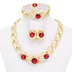 Intionix Shop Red Crystal Jewelry Sets Gold Plated Jewelry Set With Gem Stone Necklace For Bridal Bridal Wedding Party. Brand westernrain Gender Women Accessory Material Alloy Style Party, Cute, Vintage Note Length of Bracelet Stylish Jewelry, Cheap Jewelry, Gold Jewelry, Jewelry Accessories, Women Jewelry, Fashion Jewelry, Ruby Necklace, Crystal Necklace, Crystal Jewelry