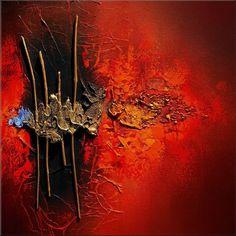 """Tableau abstrait contemporain """"PASSAGE"""" toile peinture moderne en relief (bois) noir doré rouge orange bleu : Peintures par tableaux-abstraits-nathalie-robert"""