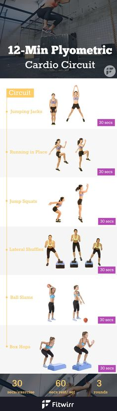 12 Minute Plyometric Cardio Circuit Plyometric Cardio Circuit to double your calories burn and rev up your fat burning hormone. Plyometric Workout, Plyometrics, Tabata, Cardio Training, Weight Training, Lose Body Fat, Burn Calories, Fett, Weight Loss Motivation