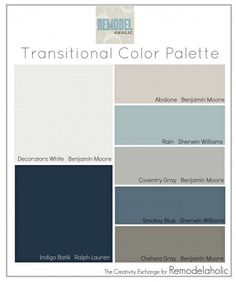 Transitional Color Palette: paint colors that are great for mixing warm and cool tones. Transitional Color Palette: paint colors that are great for mixing warm and cool tones. Wall Colors, House Colors, Colours, Foyer Colors, Warm Paint Colors, Great Room Paint Colors, Living Room Paint Colors, Pottery Barn Paint Colors, Best Blue Paint Colors