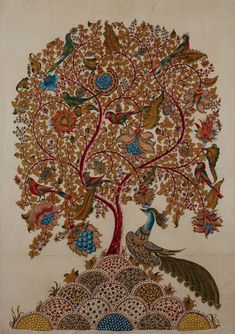 Tree of Life, Medium: Mordants & natural dyes on cotton cloth, in; SOLD - RRM R - - Tree of Life, Medium: Mordants & natural dyes on cotton cloth, in; SOLD - RRM R Tree Of Life Artwork, Tree Of Life Painting, Tree Art, Madhubani Art, Madhubani Painting, Kalamkari Painting, Indian Folk Art, Indian Paintings, Tribal Art