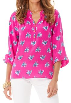 Lilly Pulitzer: elsa top in bazaar, looks great with white jeans!