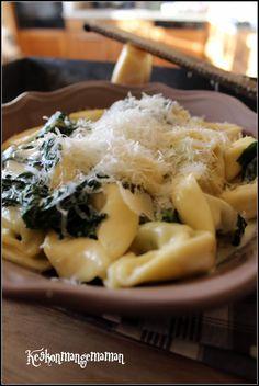 Keskonmangemaman?: Tortellini ricotta épinards , sauce mascarpone parmesan et épinards frais