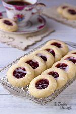 Raspberry Almond Shortbread Thumbprint Cookies   Dulce Dough Recipes