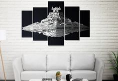 Items similar to Star Destroyer - Star Wars 5 Panel / 5 Piece Canvas Set, Star Wars digital Print Poster Artwork Wall Decor Painting Ship Stars on Etsy Artwork Wall, Wall Art Prints, Star Wars Wall Art, Star Destroyer, Print Poster, Digital Prints, Wall Decor, Canvas, Basement