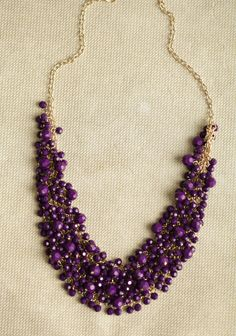 $16.99 (currently out of stock of stock, if they get them back, these could work for bridesmaids) Royal Decadence Beaded Necklace 16.99 at shopruche.com. Vibrant purple beads adorn this gold-toned chain necklace for a luxurious statement look.10