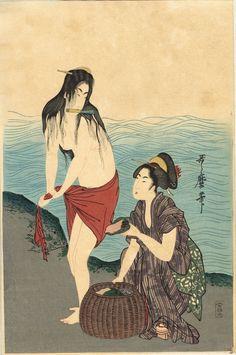 "Japanese Ukiyoe Woodblock print antique Kitagawa Utamaro  ""Fisherwomen on the seashore (right)"""