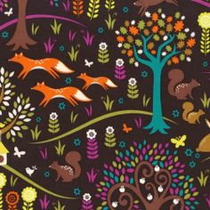 """Foxtrot"" - Woods Woodland Foxes Trees Fabric Fat Quarter by Michael Miller"
