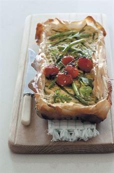 Spring vegetable phyllo tart