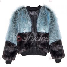 Chic Collarless Long Sleeve Hit Color Faux Fur Women's Coat ($44) ❤ liked on Polyvore featuring outerwear, coats, fake fur coats, collarless coat, blue coat, long sleeve coat and imitation fur coats