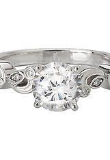 Semi-Mount Diamond Ring in 14kt White Gold with Swirl Design. (D.05 carat total weight; does NOT include center stone as shown) Peg Head http://www.houstondiamondandgem.com/  Engagement ring // Wedding Ring // Diamond Ring