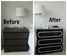 :::I have night stands that have this drawer detail; liking the black and white. Perhaps navy with silver or silver with white.::: Ikea Furniture, Furniture Projects, Furniture Makeover, Home Projects, Laminate Furniture, Ikea Makeover, Simple Furniture, Home Staging, Ikea Fans