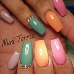 Multicolor Pastel Ballerina Nails With Rhinestones