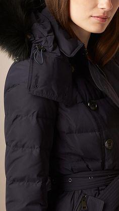 Azul marino Abrigo con relleno de plumón y capucha en piel de zorro -  Imagen 4 5c359dba410b
