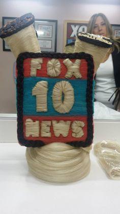 Pretty & Dollfaced created a FOX 10 news inspired headpiece for the Hair Wars Arizona news segment! #HairWars2015 #Fox10PHX #PrettyDollfacedAZ