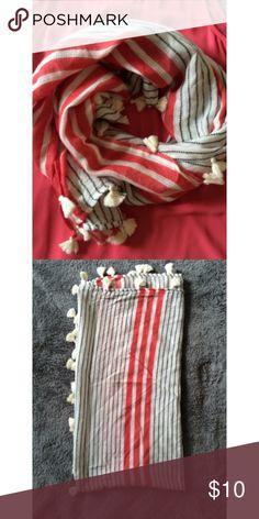 | LOFT scarf | •LOFT• navy• pink• white• tassel border• LOFT Accessories Scarves & Wraps