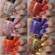 6 fabulous colours from OPI's Hawaii Collection 2015. Left to right from top: Do You Take Lei Away, Go With The Lava Flow, Suzi Shops and Island Hops, I Lost My Bikini in Molokini, Aloha From OPI and Pineapples Have Peelings Too. The last is my favourite.