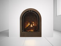 Heat and Glo Crescent II Gas Fireplace Small Gas Fireplace, Wood Fireplace, Fireplace Inserts, Fireplace Ideas, Gas Fireplaces, French Cottage, Cozy Cottage, Cottage Homes, Cute Apartment