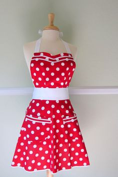 Cute, retro style.  Who doesn't want to wear a classic red and white polka-dot apron while frying up the bacon?