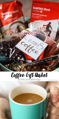 Coffee Gift Basket Idea makes a perfect present for colleagues, teachers, and friends. Give the finest coffee and goodies to show your appreciation. Free Printable too.