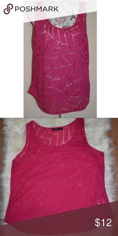 Hot Pink Apt 9 tank Hot Pink Apt 9 tank/cami. See thru/sheer leaf pattern. Size XL Apt. 9 Tops Tank Tops