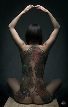 Wow, gorgeous photography by Loren Gonzalez Duran of model Ninette Shibara with her Mucha tattoo!