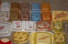 styrofoam containers! I especially love the McDLT one in the middle - keeps your hot side hot and your cold side cold, LOL!