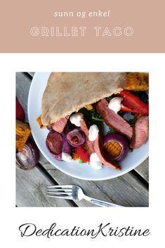 Grillet taco fra DedicationKristine er en enkel, sunn og smakrik sommermiddag | Sunn lunsj | Sunn middag | Grillmat | Sommerretter | Oppskrift middag | Oppskrift lunsj Sausage, Tacos, Mexican, Meat, Ethnic Recipes, Food, Summer, Eten, Sausages