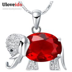 Find More Pendant Necklaces Information about Collares 2016 Bijoux Red Blue Stone Necklace Elephant Pendants Sterling Silver Chains Fashion Necklaces for Women Uloveido N741,High Quality necklace jewlery,China necklace dragon Suppliers, Cheap necklace monet from Uloveido Official Store on Aliexpress.com