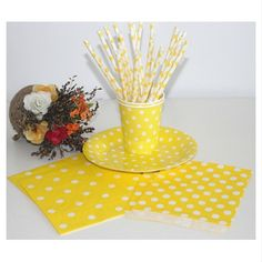 Wholesale Yellow Polka Dot Paper Drinking Straw