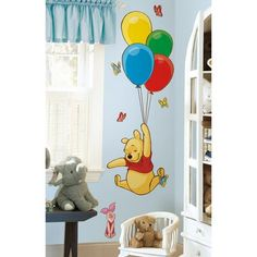 Disney Winnie The Pooh and Piglet Giant Wall Sticker. This adorable set of Pooh and Piglet wall stickers is the perfect addition to any nursery or child's bedroom. Pooh soars high into the sky with a set of colourful balloons, complete with cute Piglet! Stickers Winnie, Deco Stickers, Wall Stickers, Baby Bedroom, Baby Room Decor, Kids Bedroom, Disney Rooms, Disney Nursery, Winnie The Pooh Nursery