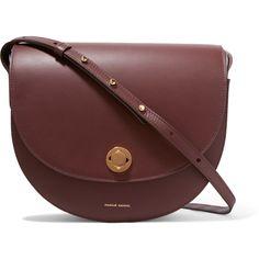 Mansur Gavriel Saddle leather shoulder bag (952 AUD) ❤ liked on Polyvore featuring bags, handbags, shoulder bags, burgundy handbags, red leather purse, burgundy leather handbags, shoulder strap bags and leather shoulder handbags