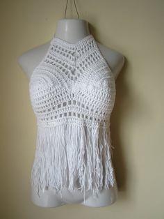 Festival top, Crochet halter top, halter top,  fringe halter, bikini cover, beachwear, summer top, gypsy, Boho chic, WHITE , Cotton