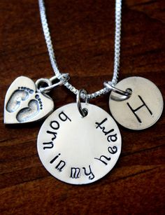 Born in my heart, Adoption Jewelry, New mommy, Surrogacy Jewelry Gift, Personalized Initial Baby Feet Necklace. $80.00, via Etsy.