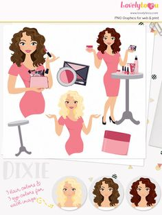 Woman makeup character clipart beauty clipart set with