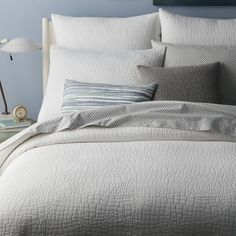 west elm offers modern bedding sets that feature comfort and style. Shop bedroom accessories, including pillows, throws, and duvet covers. Modern Bed Sheets, Modern Duvet Covers, Bed Covers, Master Bedroom, Bedroom Decor, Condo Bedroom, Bedding Decor, Dream Bedroom, Bedroom Ideas