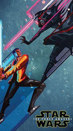 Illustrated Star Wars The Force Awakens - Finn KyloRen iPhone 6 / 6 Plus wallpaper