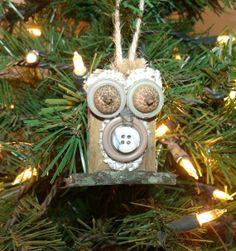 Reclaimed wood block owl ornament by LynnsMill on Etsy, $5.00