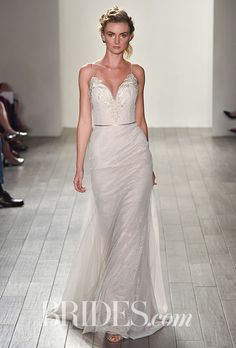 Jim Hjelm - Fall 2017. Style 8705, Ivory chantilly lace over cashmere sheath wedding dress with an embroidered sweetheart neckline, low sheet open back with embroidered detail, english net godets on skirt by Jim Hjelm
