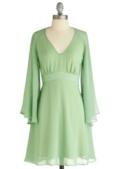 Wending the Shore Dress - Mid-length, Green, Solid, Party, A-line, Long Sleeve, Exclusives, Wedding, Pastel, Sheer $43.99