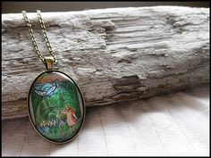 Postage Stamp Pendant  Thumbellina by OhThePost on Etsy, $23.00