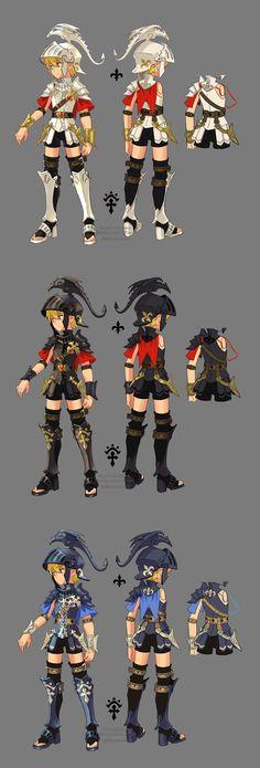 Dragon Nest myth warrior by ZiyoLing on DeviantArt Game Character Design, Character Creation, Character Design Inspiration, Character Concept, Concept Art, Character Sheet, Cosplay, Manga Anime, Dragon Nest