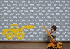 Deze mural is echt iets voor stoere kids! Deze gepersonaliseerde behangposter heeft als achtergrond een patroon van brandweerauto's, graafmachines en vrachtwagens. Op de voorgrond van het staat een grote graafmachine. Binky, Kids Room, About Me Blog, Children, Child's Room, Fun, Home Decor, Houses, Murals
