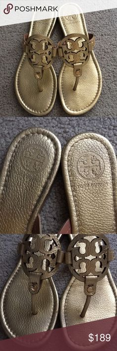 Tory Burch Gold Tumbled Leather Millers size 8 Tory Burch Miller Sandals in a size 8. Metallic Gold Tumbled Leather. Made in Brazil. Authentic, and in beautiful condition! Worn once. Tory Burch Shoes Sandals