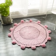 2016 New Crochet Round Rugs and Carpets for children room decoration Kids Baby Blanket Game Mat Pink 80cm Playmat