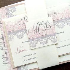 This Chantilly Lace invitation suite will set the tone for a very elegant and romantic wedding or event. Featuring a soft two-toned lace pattern.