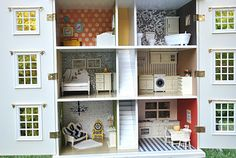 dollhouse overhaul--great ideas for sprucing up an old doll house