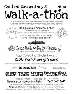 Walk a thon incentive prizes for fundraisers