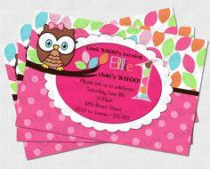 Pretty Owl Birthday Party Invitation - DIGITAL DIY. $12.50, via Etsy.